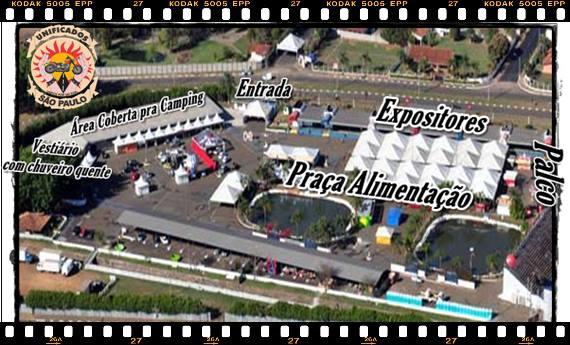 Encontro de motociclistas em Araras, SP. Unificados M. C. Mapa do local do evento.